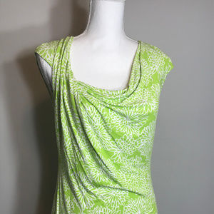 Liz Claiborne Womens Small Green Floral Top